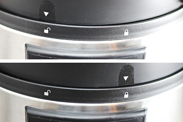 Closeup of the Crock-Pot Express Crock Multi-Cooker Lid showing it both locked and unlocked