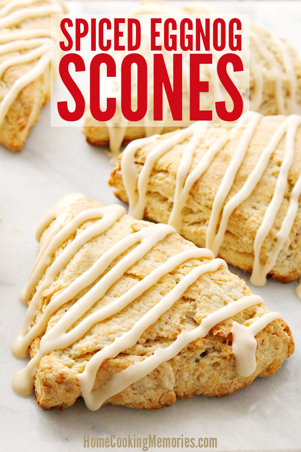 This Spiced Eggnog Scones recipe is perfect for enjoying during the holidays. Not only is eggnog baked right inside of the scone, but the top has a delicious eggnog drizzle.