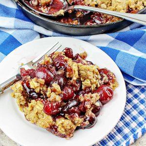 Cast Iron Skillet Bing Cherry Crumble Recipe
