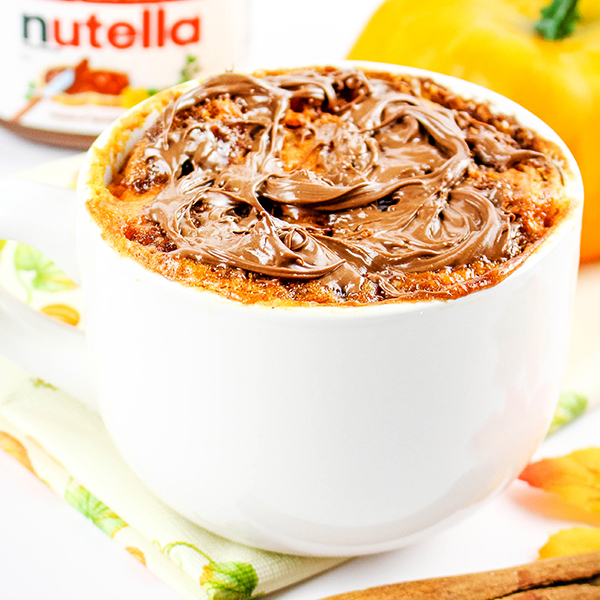 Microwave Nutella Pumpkin Mug Cake Recipe