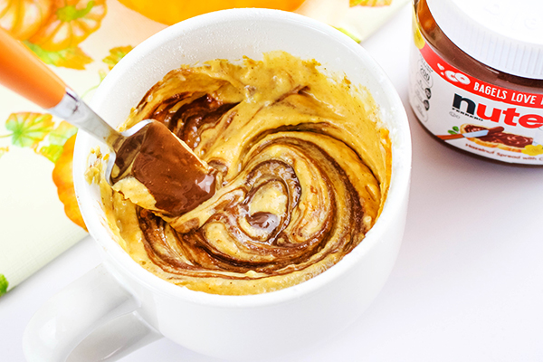 Step-by-Step Instructions for Microwave Nutella Pumpkin Mug Cake Recipe