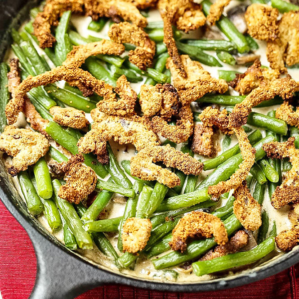 Skillet Green Bean Casserole Recipe with Crispy Onion Topping