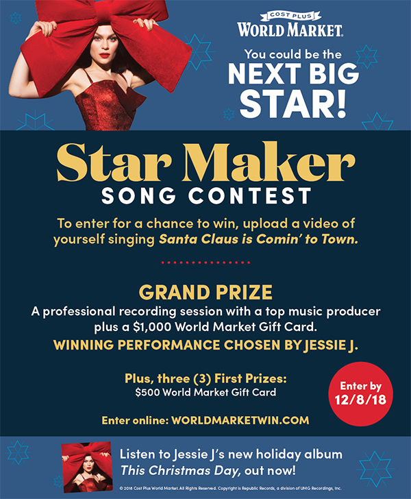 Cost Plus World Market Star Maker Song Contest