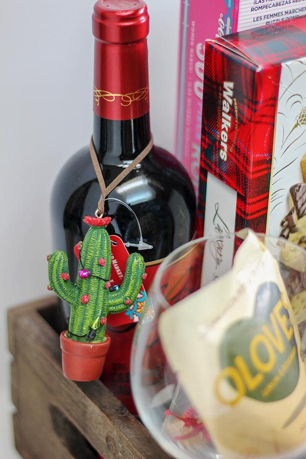 Girls Night Gift Basket - Cactus Christmas Ornament and 3 Girls Wine