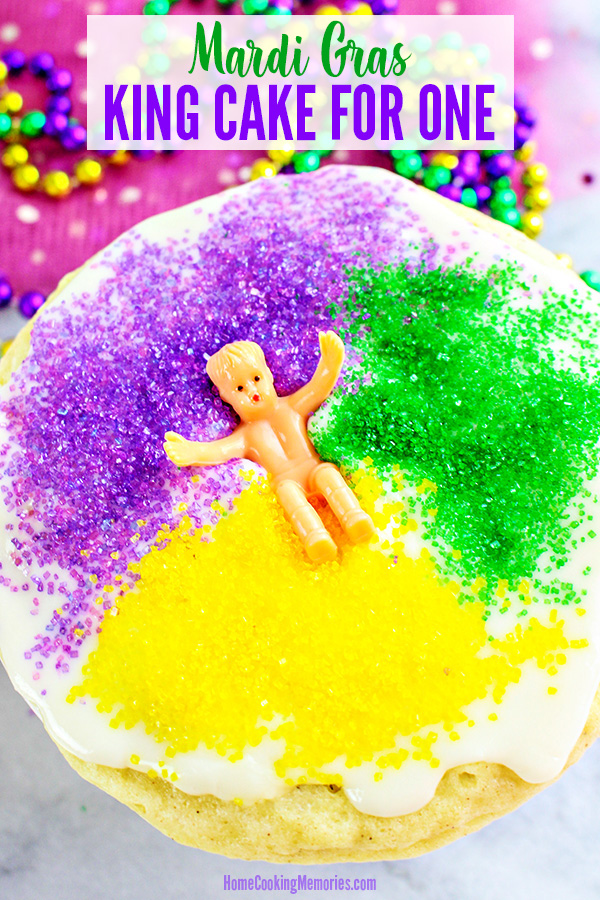"Want King Cake, but don't want the whole cake? This insanely easy King Cake Recipe for One will have you celebrating Mardi Gras in no time! Mix up the cake batter in a mug or ramekin and ""baked"" in the microwave. Add festive green, purple, and yellow sugar sprinkles and enjoy!"