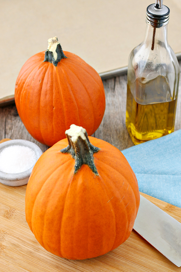 Small pumpkins, olive oil, and salt
