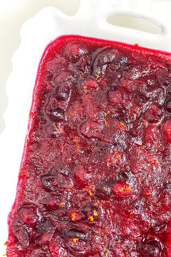 Homemade cranberry sauce recipe in a white dish